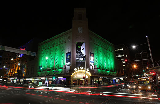 Wicked at the Civic at night in all it's green glory