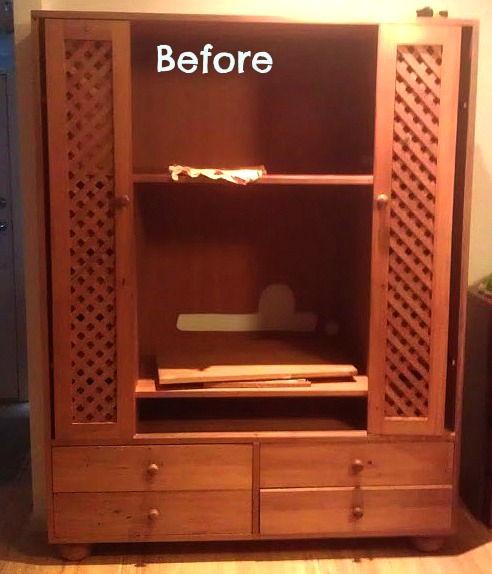 sewing cabinet before